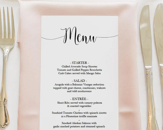 Printable Script Menu Template DIY Wedding Menu Instant Etsy