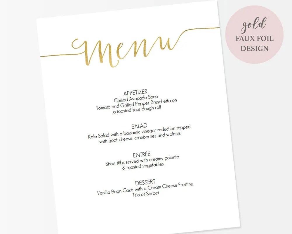 Gold Menu Sign Template 8x10 - Printable Menu 8x10 - Editable PDF