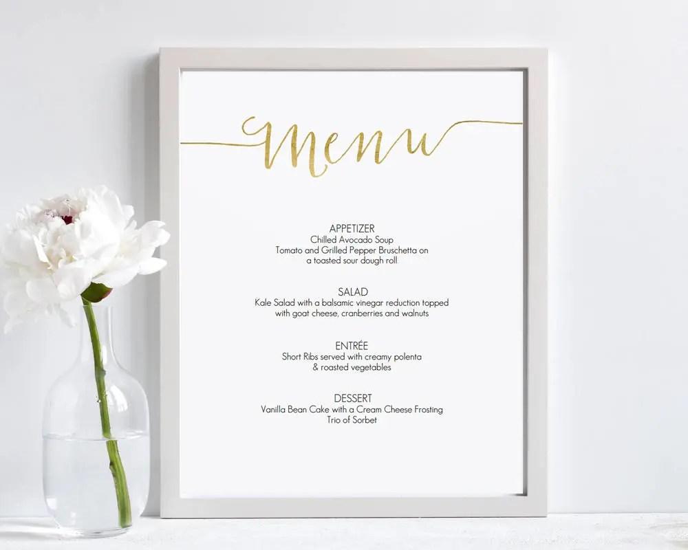 Gold Menu Sign Template 8x10 Printable Menu 8x10 Editable Etsy