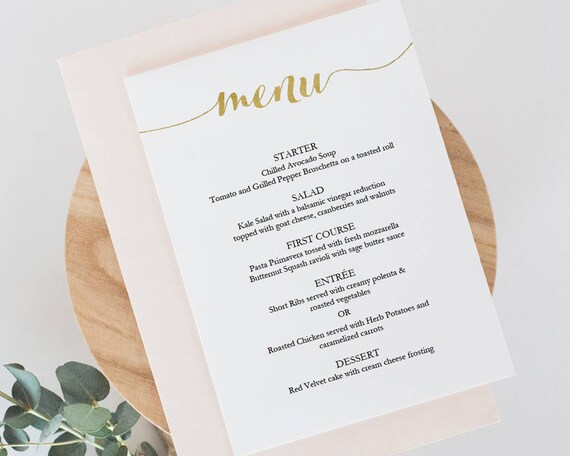 Printable Gold Menu Template Instant Download Menu 5x7 Etsy