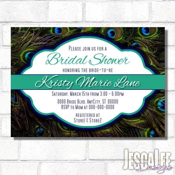Peacock Bridal Shower Invite Printable Peacock Birthday Party Etsy