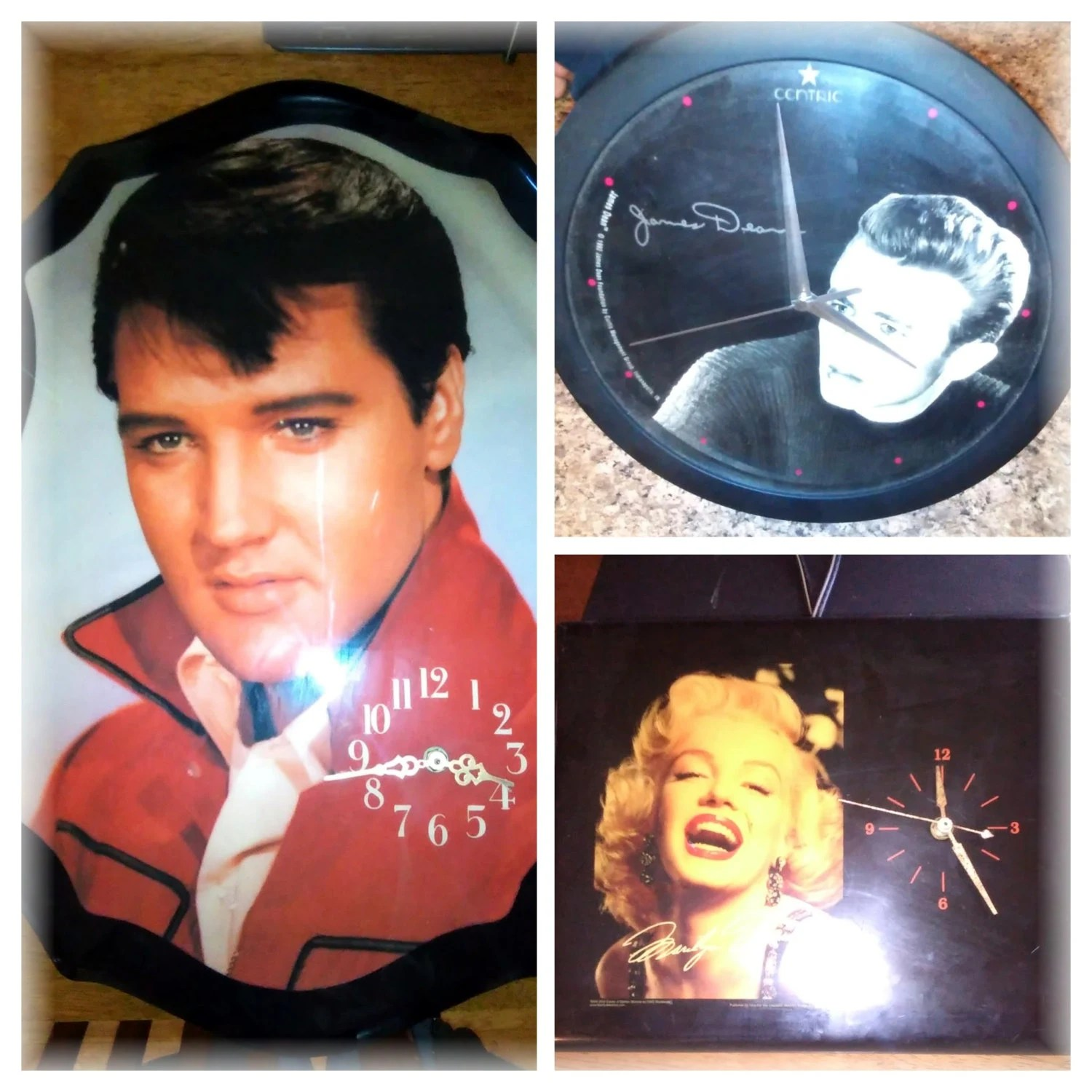Elvis Marilyn Monroe Elvis Marilyn Monroe And James Dean Clocks