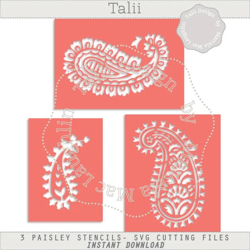 Paisley Stencil SVG Cutting Files DIGITAL 3 Indian Stencils Etsy