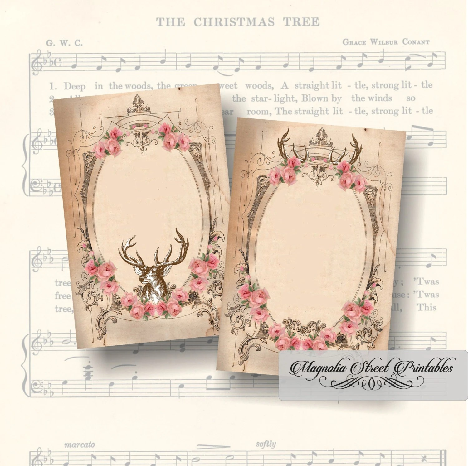 Vintage Shabby Chic Floral Deer Favor Tags Printable Blank Etsy