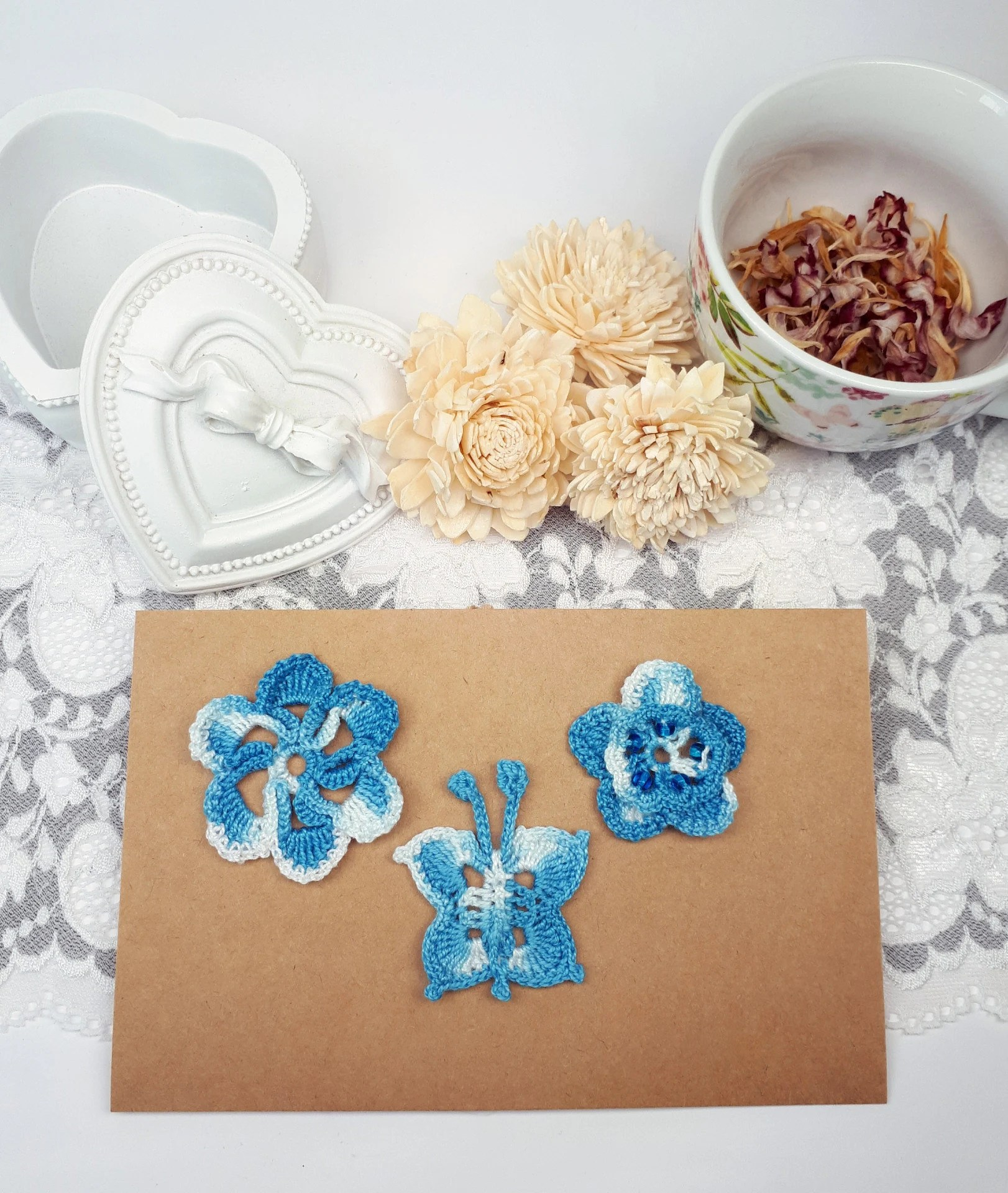 Appliques Cuisine 3 Blue Crochet Patches Flower Appliques Fabric Butterfly Blue Sewing Embellishments