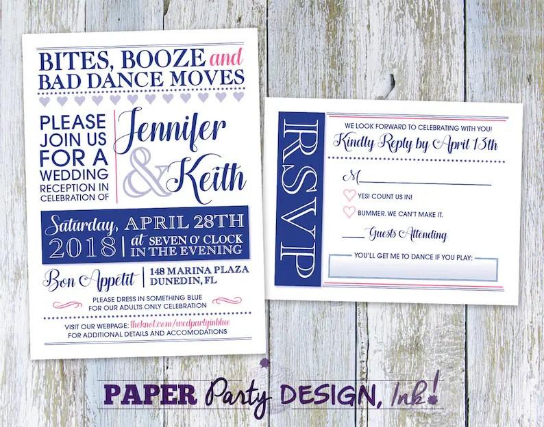 Digital Wedding Invitation and RSVP Card Bites Booze and Bad Etsy