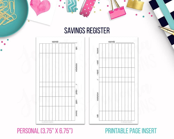 Personal Savings Register Budget Binder Printable Page Etsy