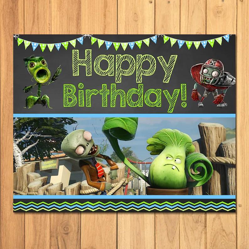 Plants Vs Zombies Happy Birthday Sign Plants Vs Zombies Sign Etsy