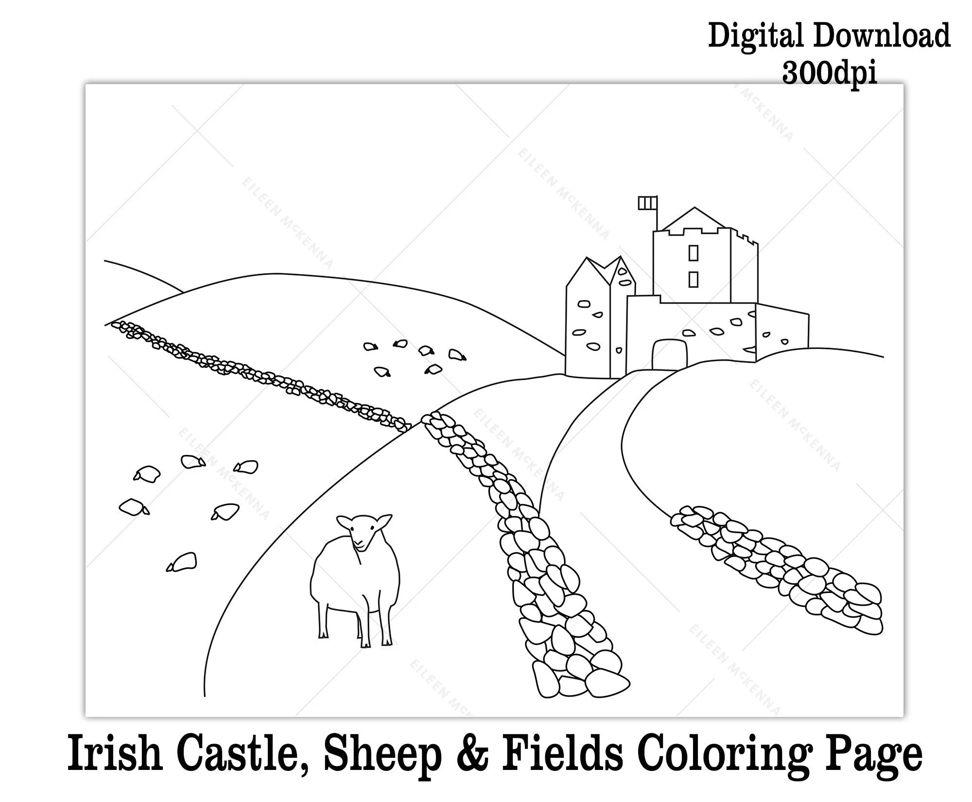 Printable St Patrick\u0027s Day Coloring Page Kids Class Etsy