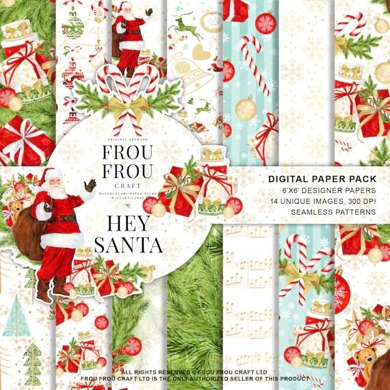 Christmas Paper Pack Santa Digital Backgrounds Xmas Scrapbook Etsy