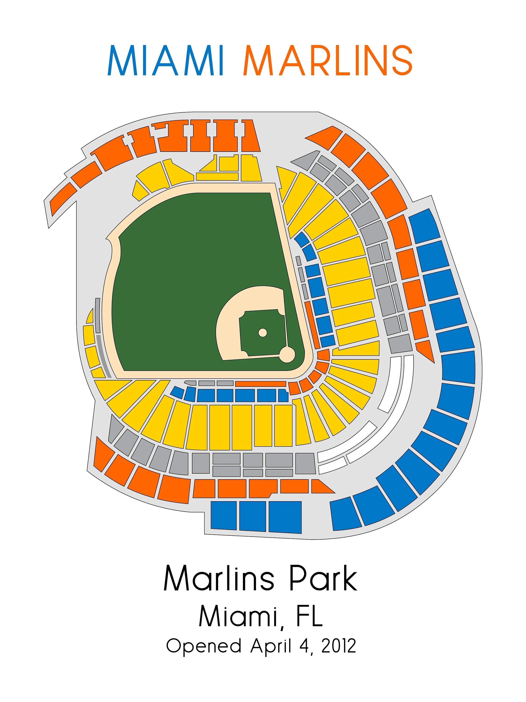 Miami Marlins Baseball Map MLB Stadium Map Ballpark Map Etsy