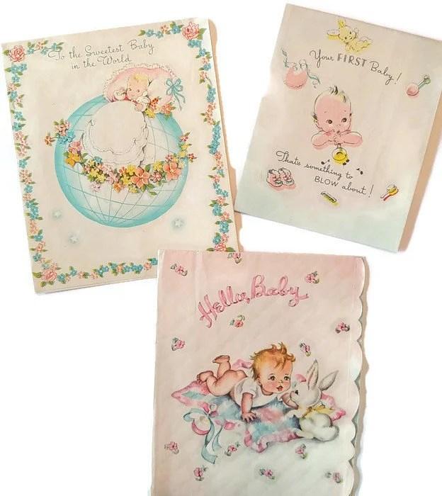 Vintage Baby Congratulations Cards Boy Girl Greeting Original Etsy