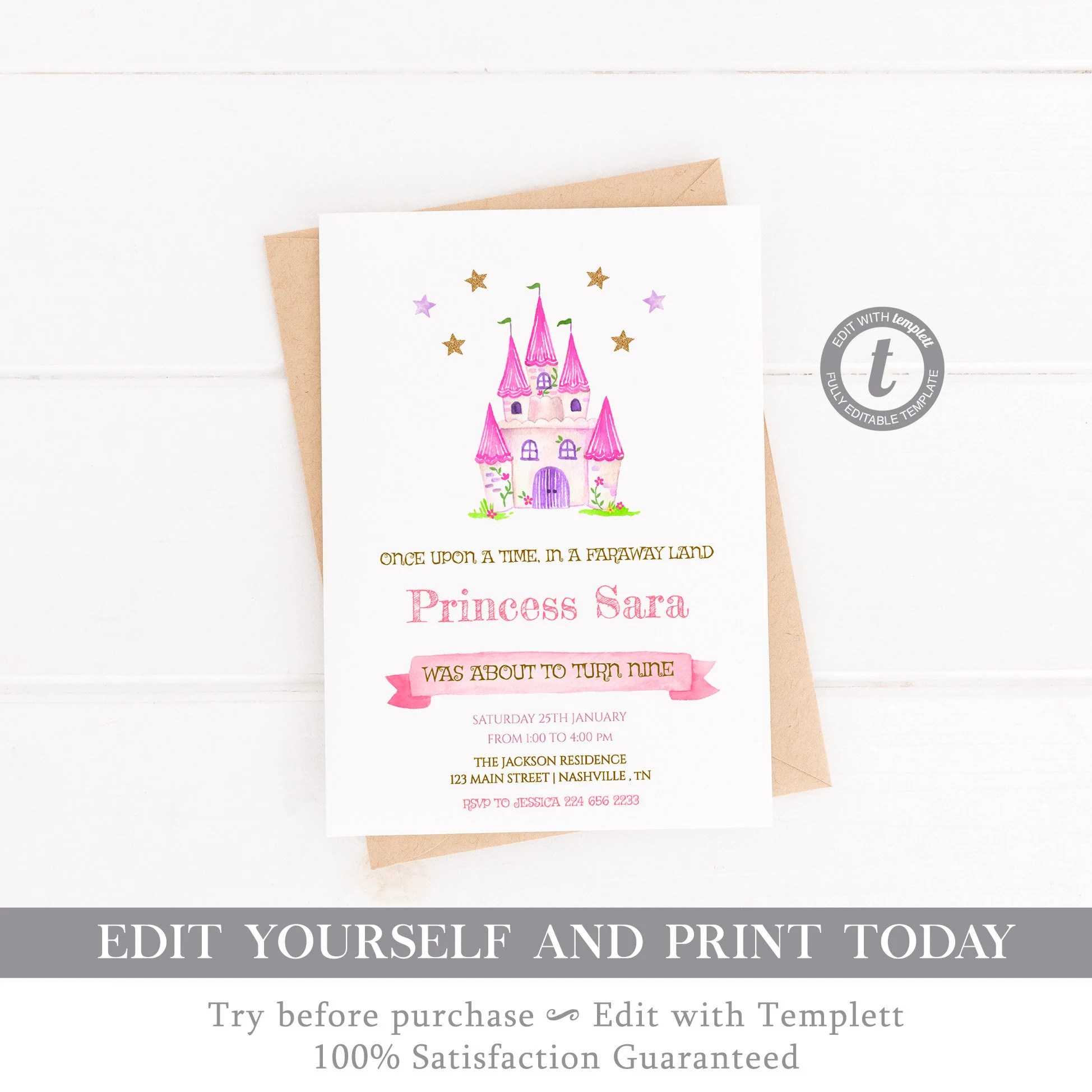 Princess Birthday Invitation, Princess Castle, Modern Invitation