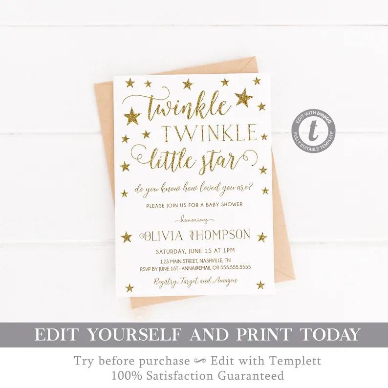 Twinkle Twinkle Little Star Baby Shower Invitation Template Etsy