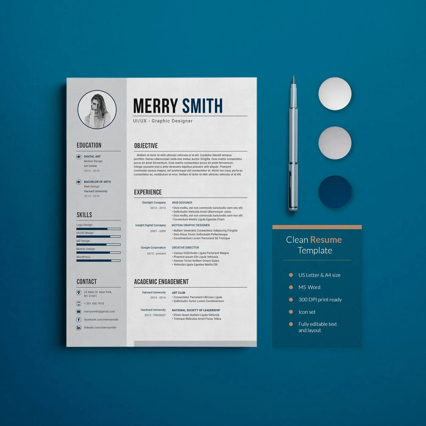 Minimal Resume Template with Cover Letter MS Word Etsy
