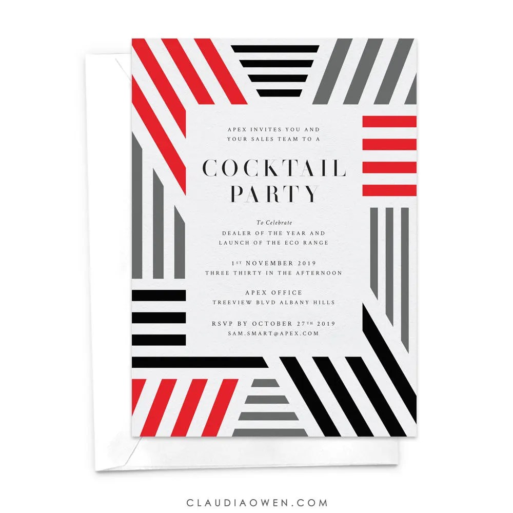 Cocktail Party Dinner Party Invitation Modern Invitation Etsy