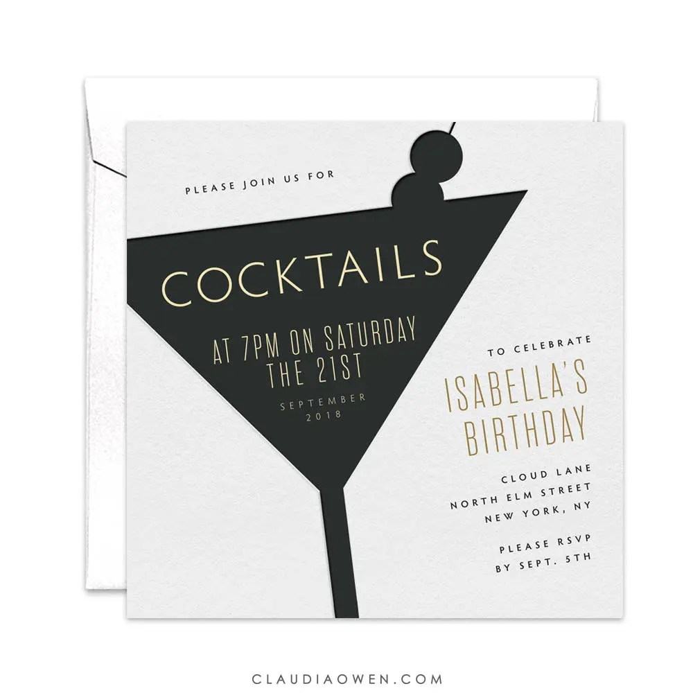 Cocktail Party Invitation 21st Birthday Birthday Etsy