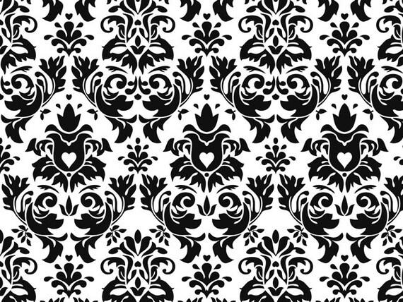 Knit Black Damask White Background Fabric 1/2 yard Etsy