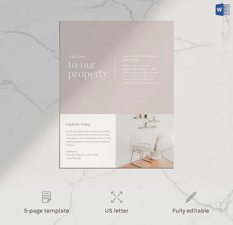 Airbnb Home Rental Welcome Book Template Microsoft Word Etsy
