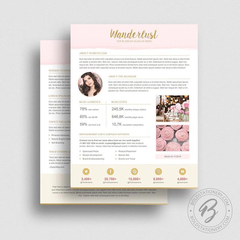Media Kit Template 10 Ad Rate Sheet Template Press Kit Etsy