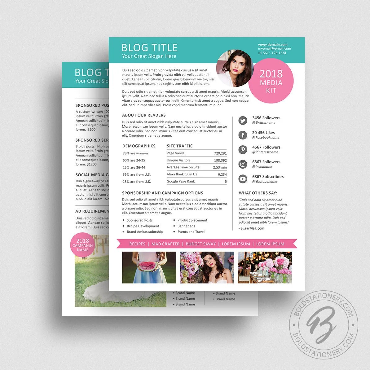 Blog Media Kit Template 01 Ad Rate Sheet Template Press Etsy