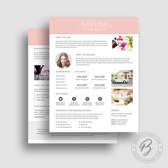 3 Page Media Kit Template 03 Ad Rate Sheet Template Press Etsy - rate sheet template