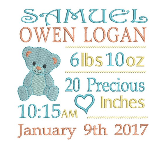 Baby Birth Announcement Template Embroidery, Baby Boy Birth Stats - boy birth announcement template