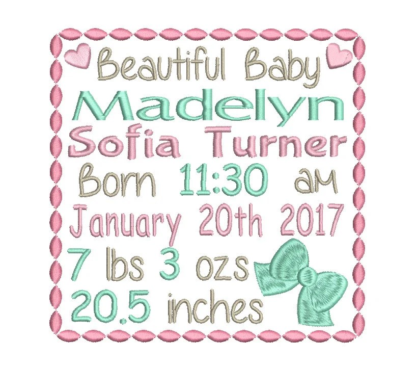 Baby Birth Announcement Template Embroidery Design Baby Birth Etsy