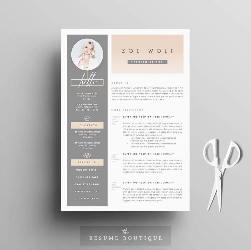Resume Template and Cover Letter References Template for Etsy