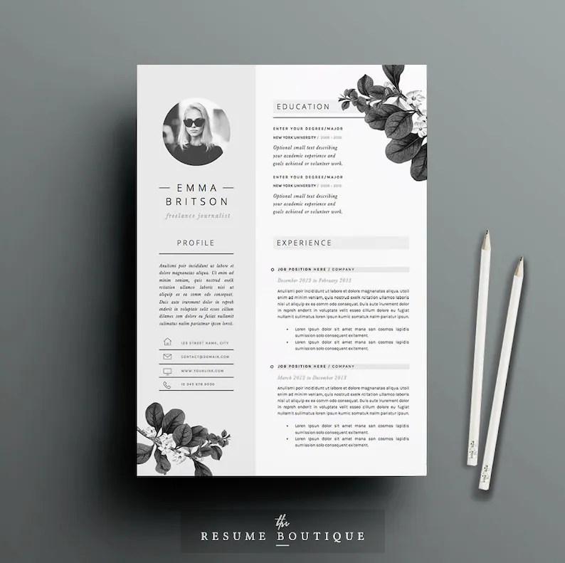 Resume Template 5 pages CV Template Cover Letter Etsy