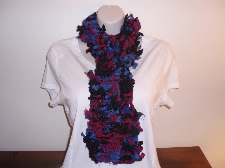 Colorful Handknit Repurposed Vintage Silk Scarf Etsy