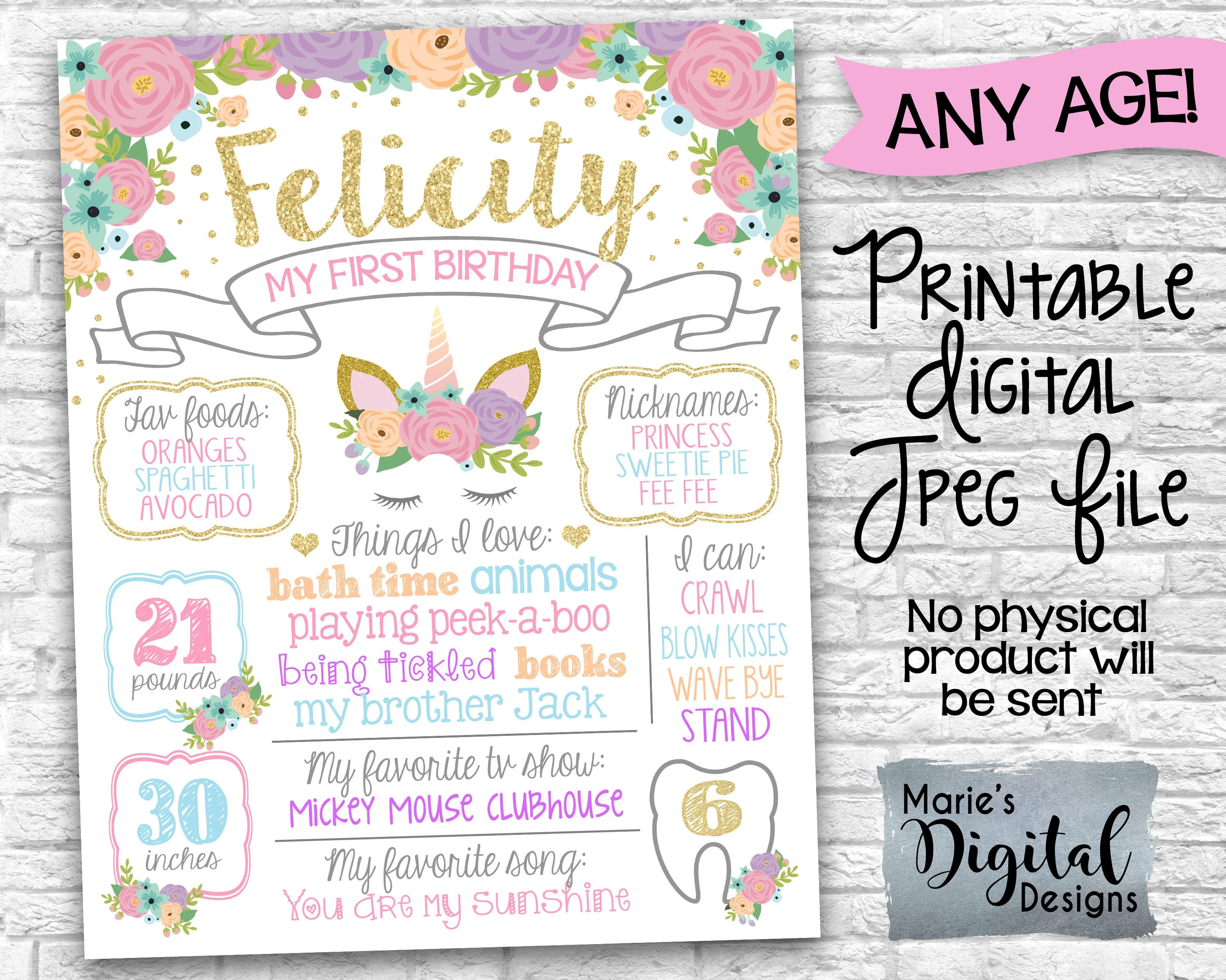 PRINTABLE Floral Unicorn Sign Poster / Any Age / First 1st Birthday