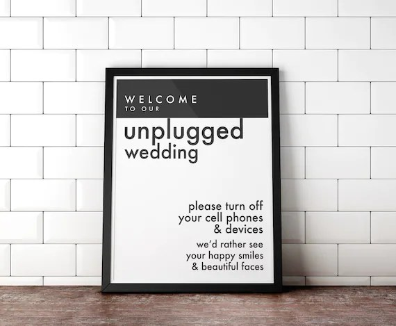 Printable Unplugged Wedding Posters, Wedding Sign, No Cell Phones