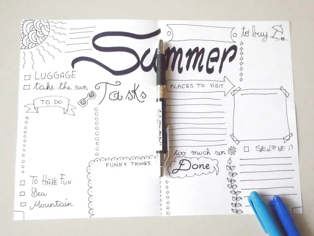 summer bullet journal holiday vacation checklist journaling - summer vacation checklist