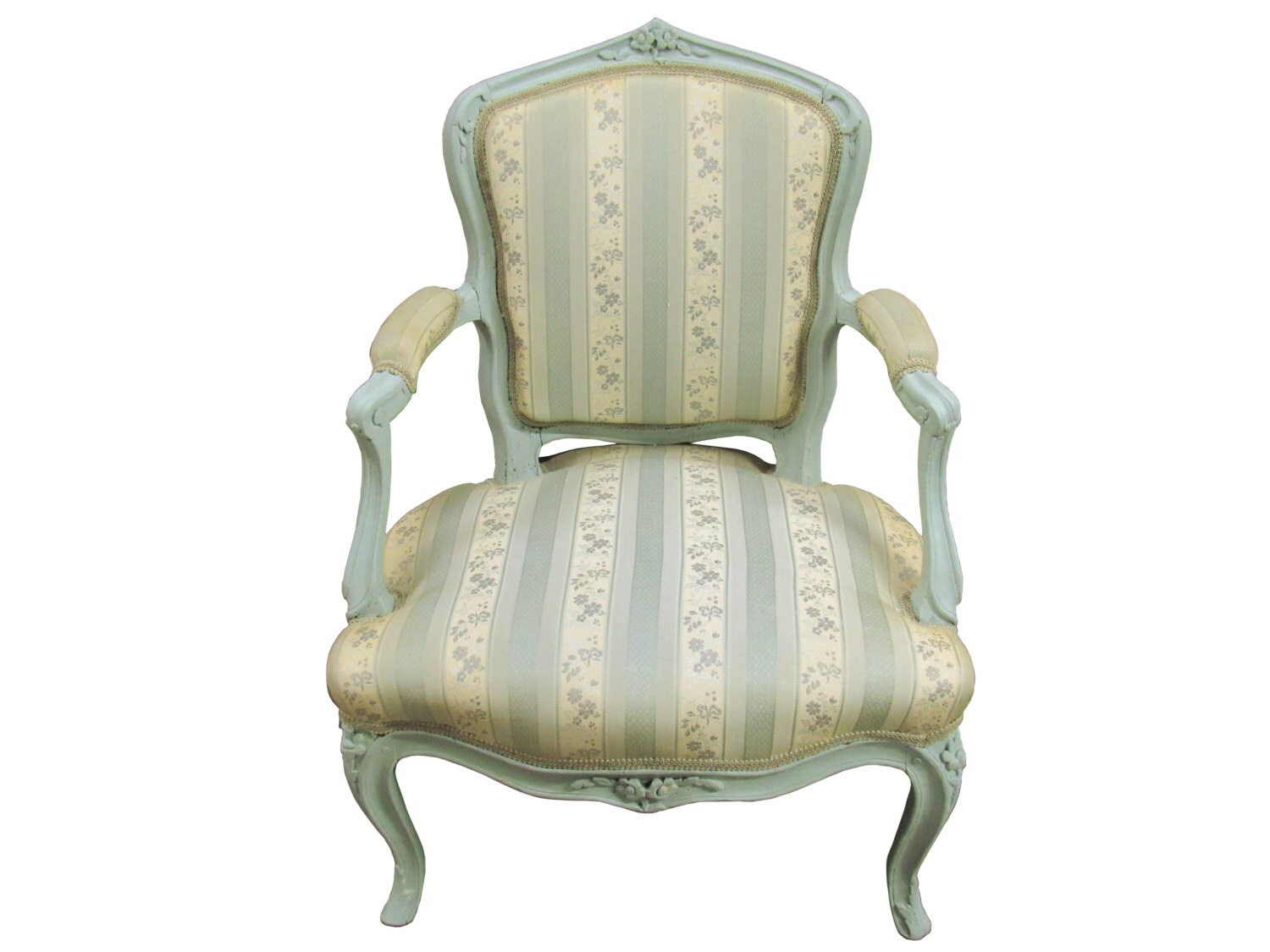 Fauteuil Shabby Chic Antique French Bergere French Upholstered Fauteuil Antique French Ladies Armchair French Painted Armchair Vintage French Mint Bergere