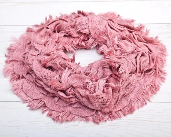 Beautiful Infinity Scarf Pink Lace Scarf Summer Scarf Etsy
