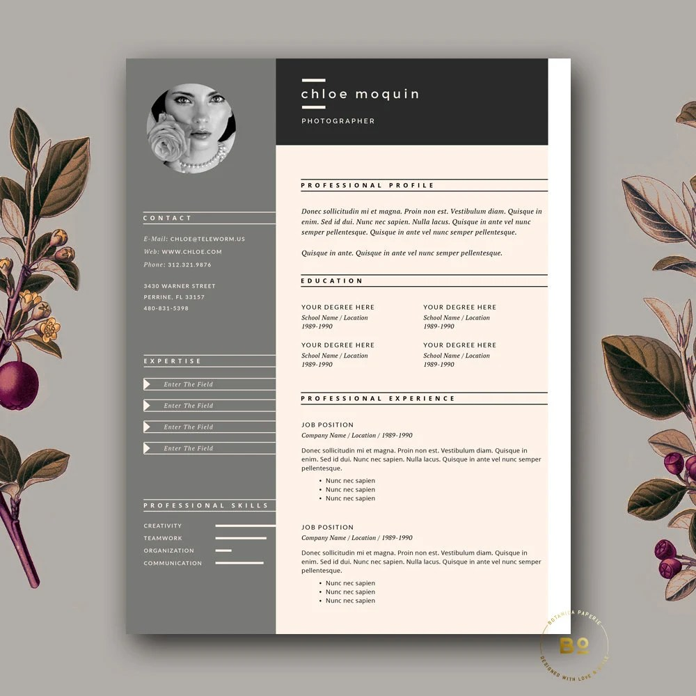 Resume Template and Cover Letter for Word  Pages 3 page Etsy