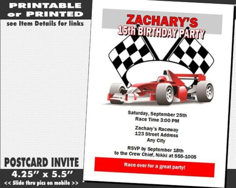 Race Car Invitation Printable with Printed Option Boy Etsy