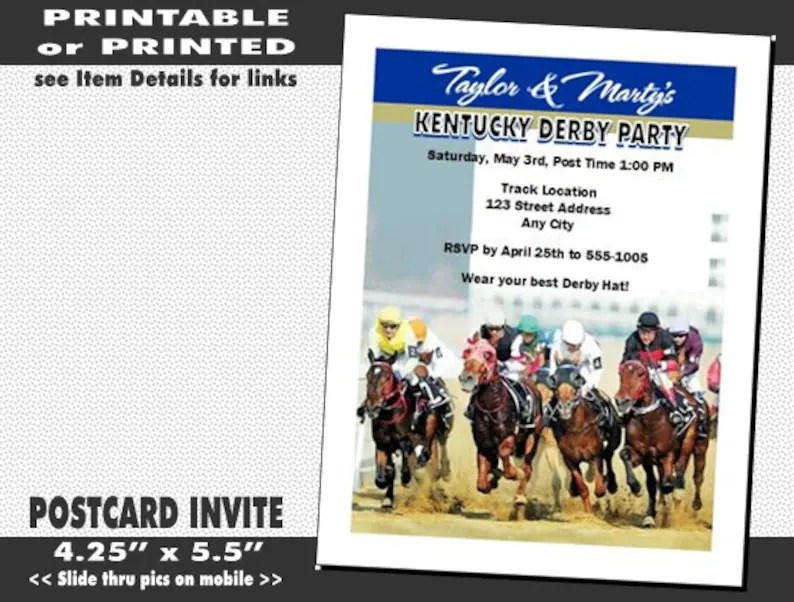 Kentucky Derby They\u0027re Off Party Invitation Printable Etsy