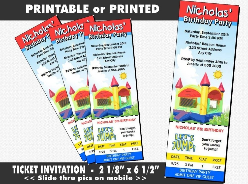 Bounce House Ticket Invitation Printable with Printed Option Etsy