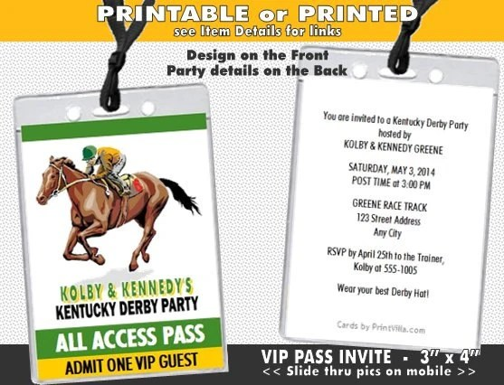 Kentucky Derby Party VIP Pass Invitation Printable with Etsy