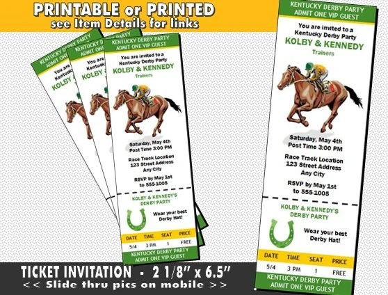 Kentucky Derby Party Ticket Invitation Printable with Printed Etsy