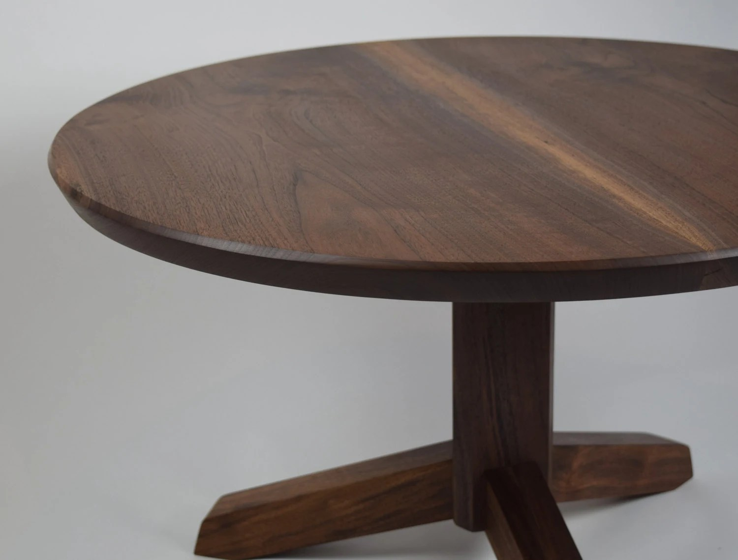 Classic Table Shapes Walnut Coffee Table Round Pedestal Base Coffee Table