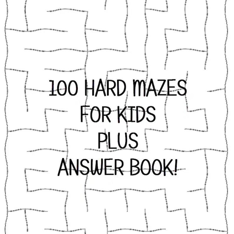 Hard Mazes for Kids 100 Printable Worksheets Answer Keys PDF Etsy