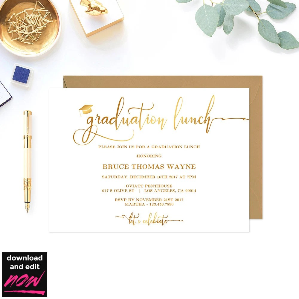 Gold Graduation Lunch Party Invitation Printable Template Etsy