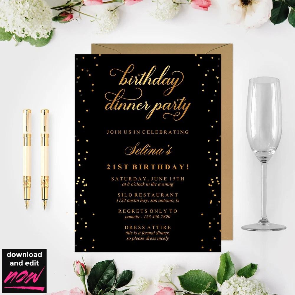 Birthday Dinner Invitation Template Black and Gold Birthday Etsy