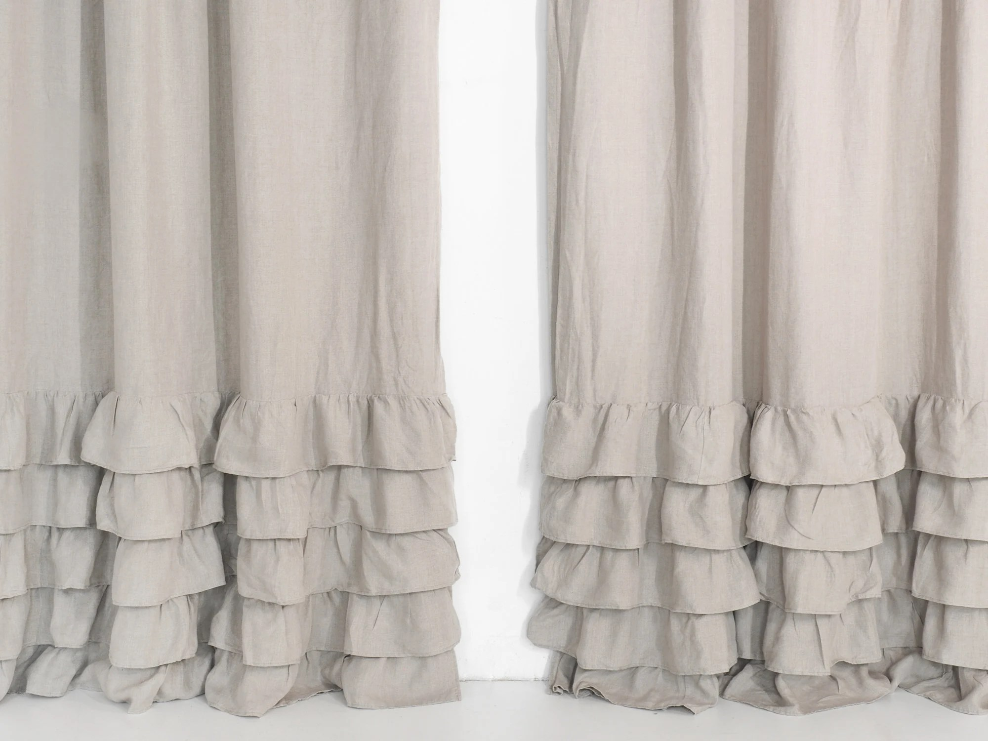 Ruffle Curtain Panel Linen Ruffled Curtain Panel Curtain Panel With Ruffles 100 Linen Natural Linen Curtain