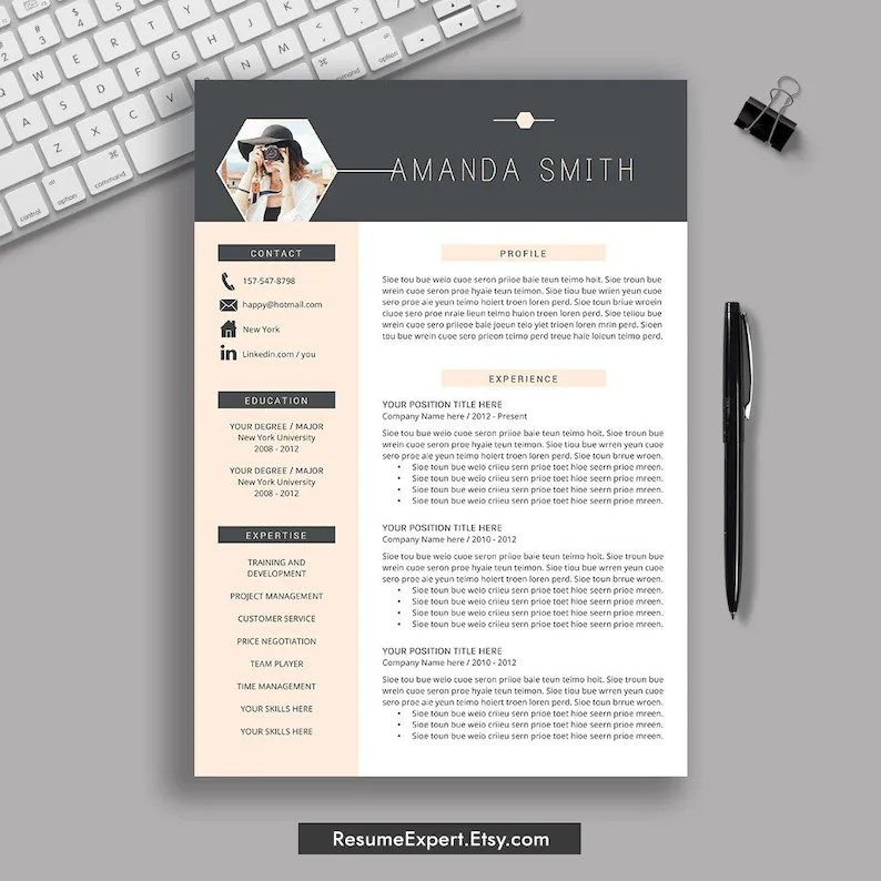 Creative Resume Template Cover Letter CV Professional Etsy