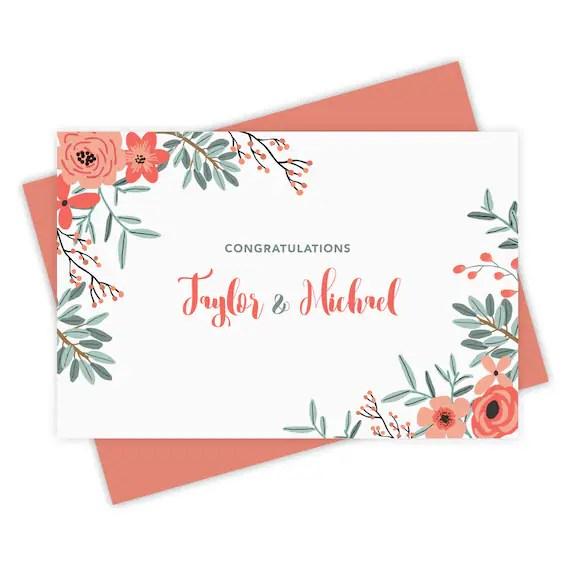 Custom Wedding Congratulations Greeting Card Personalized Etsy