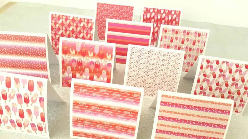 Pink note cards / pink notcards / mini pink notecards / Etsy